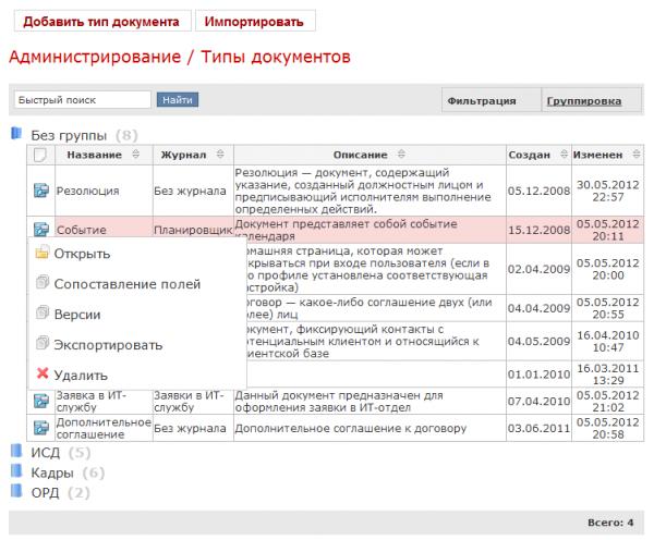 Управление типами документов в СЭД Detix